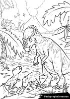Pachycephalosaurus with hatchlings