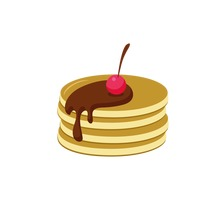 Popular : Pancakes with cherry and chocolate