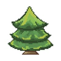 Pixelated green tree