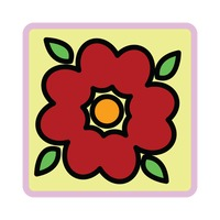 Popular : Red flower on yellow background