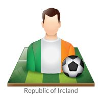 Republic of ireland player with soccer ball on field