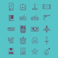Retro video game icons