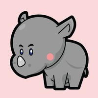Rhinoceros on a pink background