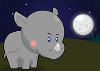 Rhinoceros over a moonlit background