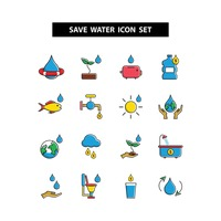 Popular : Save water icon set
