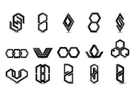 Set of abstract logo elements
