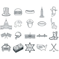 Set of american themed icons