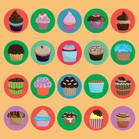 Set of cupcakes