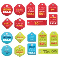 Set of cyber monday sale tags