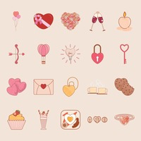 Popular : Set of heart icons