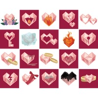 Set of hearts icon