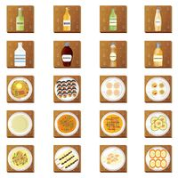 Set of korean food and beverage icons
