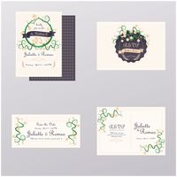 Popular : Set of wedding invitation cards