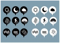 Set of white and black weather pin bubbles