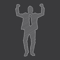 Silhouette of a businessman cheering