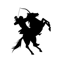 Silhouette of an archer on a horse