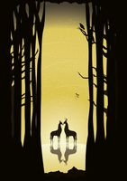 Silhouette of animals in forest