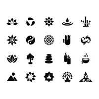 Silhouette of zen icon set