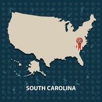 South carolina state on the map of usa