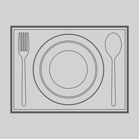 Popular : Spoon  fork and plate on mat