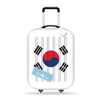 Travel suitcase with south korea flag