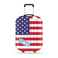 Travel suitcase with usa flag