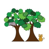 Popular : Trees and cats on white background