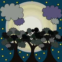 Popular : Trees with moon and clouds in the background