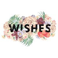 Wishes text with floral design