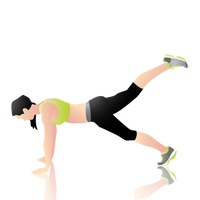 Woman doing plank leg lift
