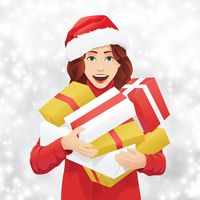 Woman holding presents background design