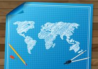 World map drawing design