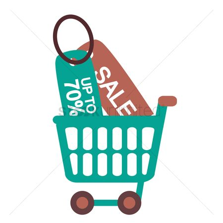 E commerces : 70 percent discount and sale tags in a shopping cart