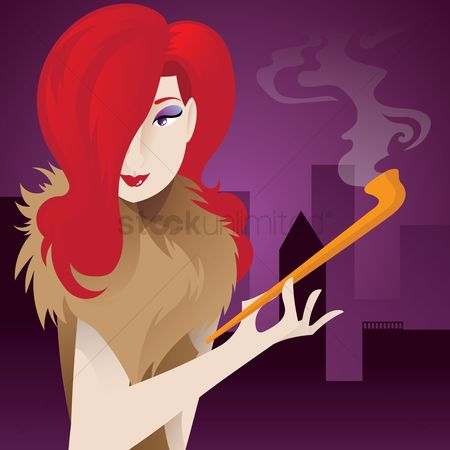 Smoking pipe : A brunette with a smoking pipe