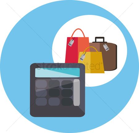 Calculations : A calculator and shopping bags