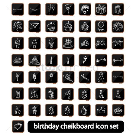 Clowns : A collection of birthday chalkboard icon