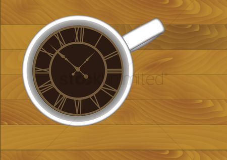 Aroma : A cup of coffee with a clock face
