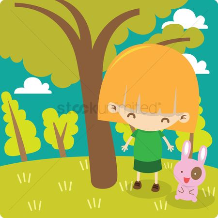 Grass : A girl with a rabbit under a tree