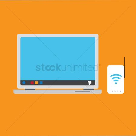 Routers : A laptop and a wifi router