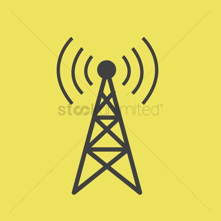 Broadcasting : A network tower on a yellow background