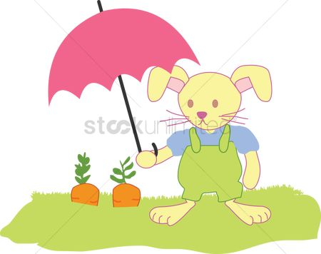 Grass : A rabbit shading carrots with an umbrella
