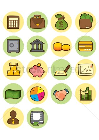 Briefcase : A set of bank related icons