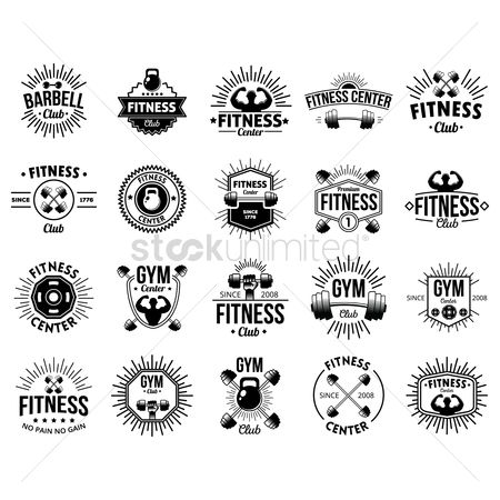 Dumb bell : A set of fitness labels