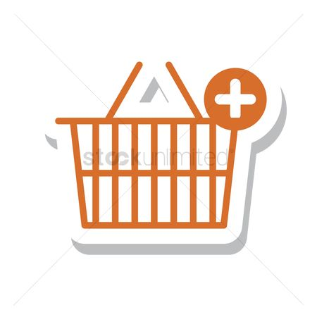 Hypermarket : A shopping basket with plus symbol
