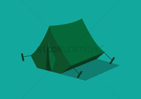 Camp : A tent on blue background