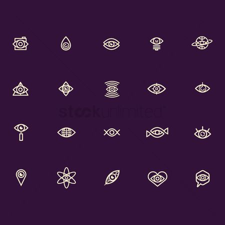 Magnifying : Abstract eye icon collection