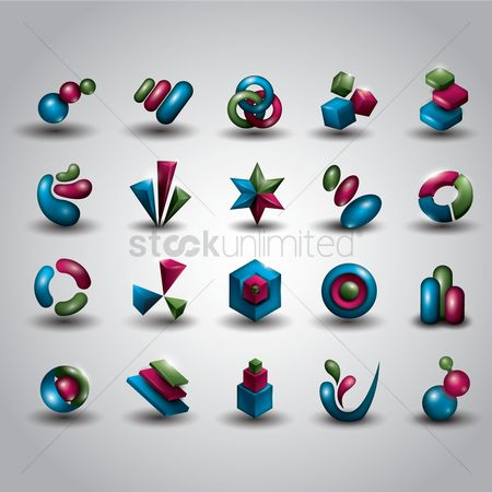 Dimensional : Abstract icon set