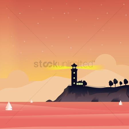 Lighthouses : Abstract landscape of lighthouse