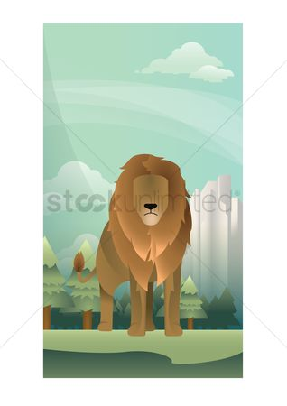 Wall : Abstract lion on forest background