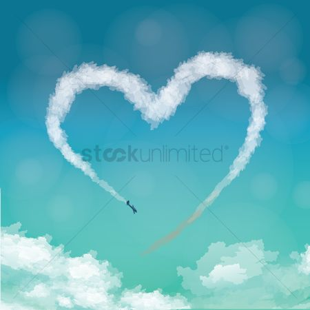 Heart shape : Airplane making heart in sky